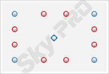 15 - Схема расположения точечных светильников на натяжном потолке