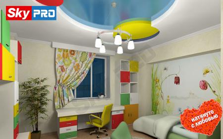 Дизайн натяжного потолка в детской