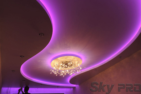 Разноцветная светодиодная подсветка потолка фото